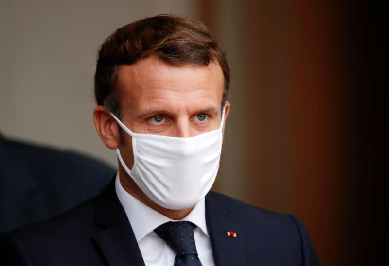French President Macron at the Elysee Palace in Paris