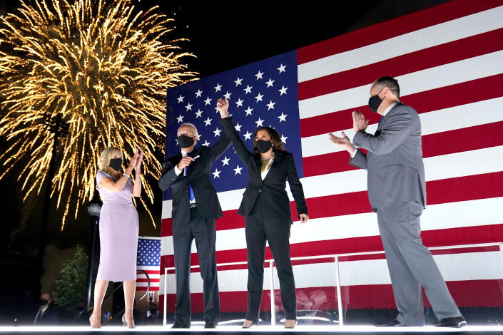 Democratic presidential candidate former Vice President Joe Biden, and his wife Jill Biden, watch fireworks with Democratic vice presidential candidate Sen. Kamala Harris, D-Calif., and her husband Doug Emhoff, during the fourth day of the Democratic National Convention, Thursday, Aug. 20, 2020, at the Chase Center in Wilmington, Del. (Andrew Harnik/AP)