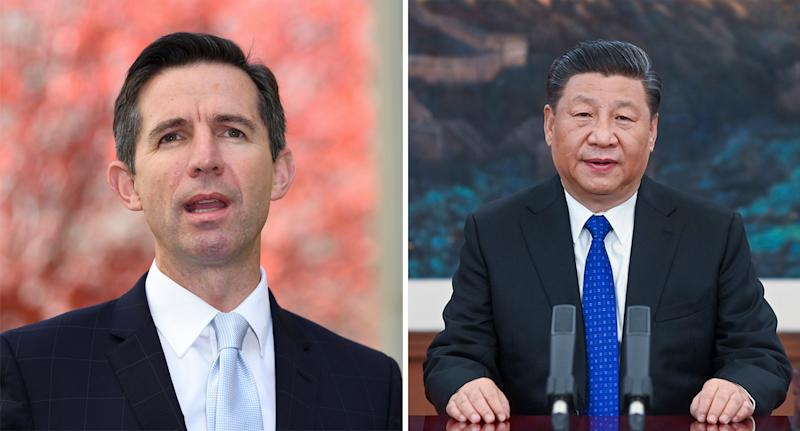 Trade Minister Simon Birmingham (left) has expressed Australia is 'extremely disappointed' by China's leader Xi Jinping (right) deciding to introduce these tariffs.