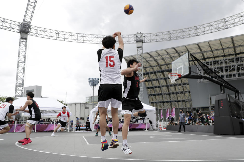 TOKYO, JAPAN - MAY 16: Ryuto Yasuoka #15 in action in the Men's semi-final match during the 3x3 Basketball Olympic test event at the Aomi Urban Sports Park on May 16, 2021 in Tokyo, Japan. (Photo by Kiyoshi Ota/Getty Images)