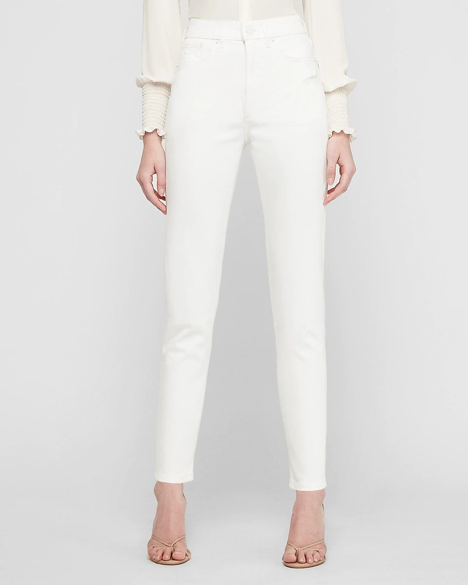 """<br> <br> <strong>Express</strong> Super High Waisted White Slim Ankle Jeans, $, available at <a href=""""https://go.skimresources.com/?id=30283X879131&url=https%3A%2F%2Fwww.express.com%2Fclothing%2Fwomen%2Fsuper-high-waisted-white-slim-ankle-jeans%2Fpro%2F07209293%2Fcolor%2FWhite%2Fe%2Fregular%2F"""" rel=""""nofollow noopener"""" target=""""_blank"""" data-ylk=""""slk:Express"""" class=""""link rapid-noclick-resp"""">Express</a>"""
