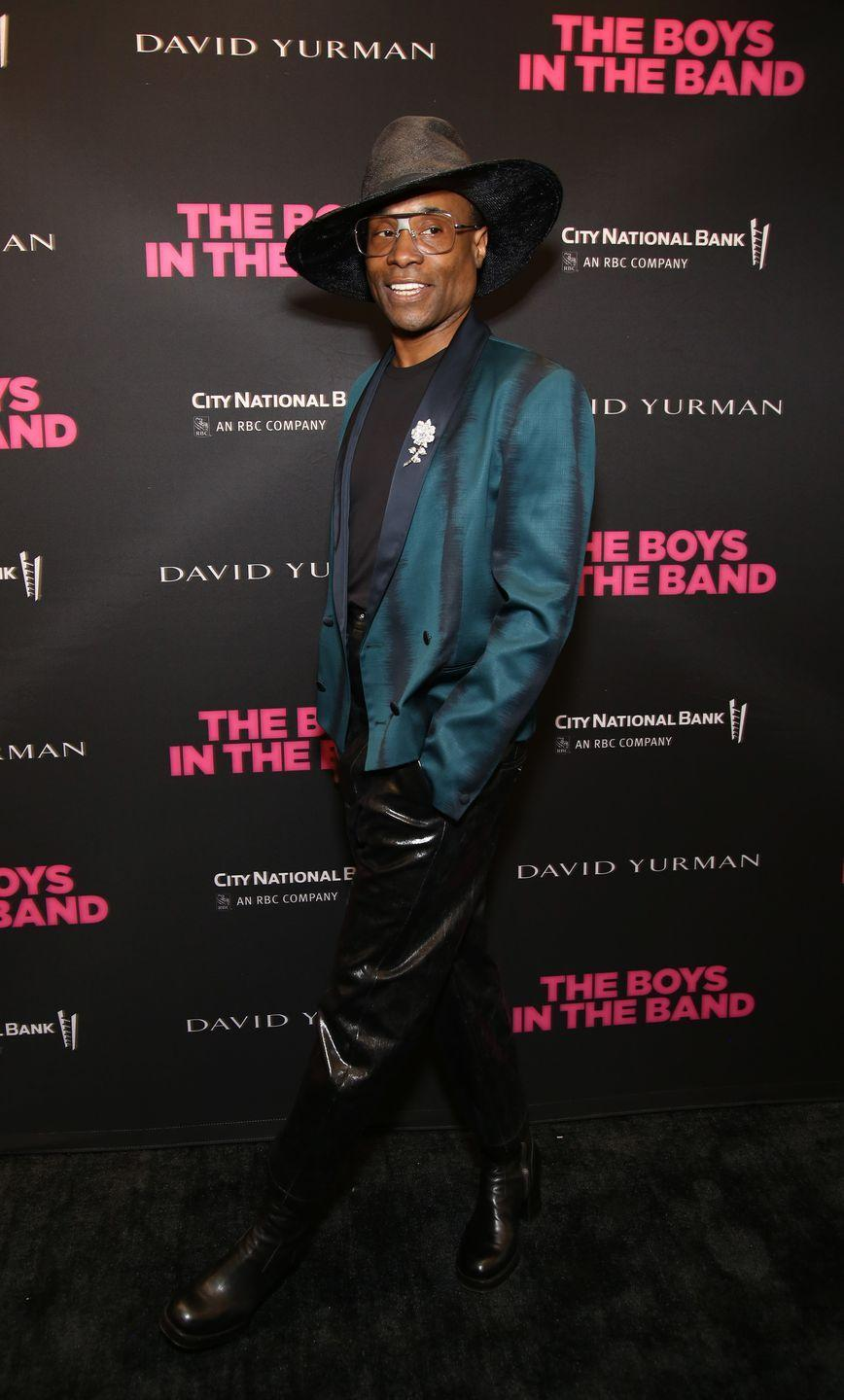<p>Porter at the <em>The Boys in the Band</em> 50th Anniversary Celebration in an emerald-green blazer, high-wasted leather trousers, and a wide-brim hat. </p>