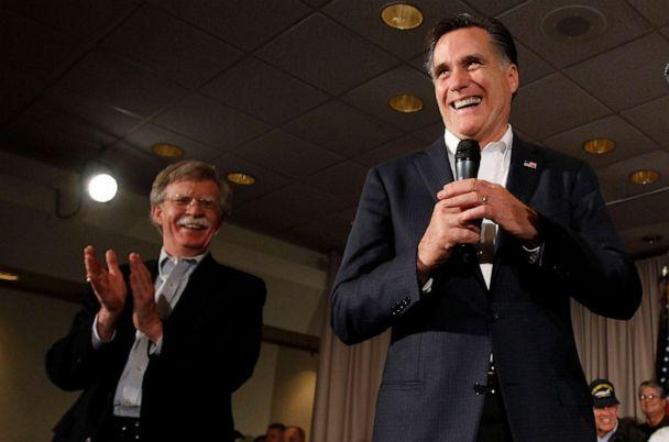 PHOTO: In this Jan. 13, 2012, file photo, Republican presidential candidate, former Massachusetts Gov. Mitt Romney, campaigns with former United Nations ambassador John Bolton in Hilton Head, S.C. (Charles Dharapak/AP, FILE)