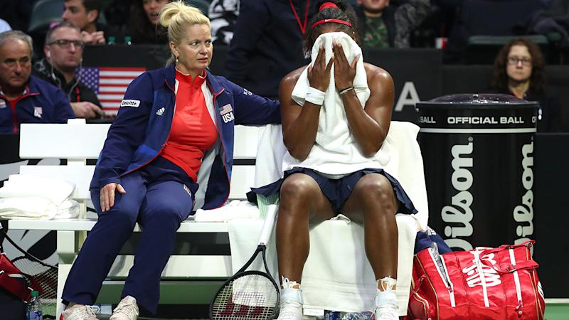 Serena Williams, pictured here in action for USA at the Fed Cup.