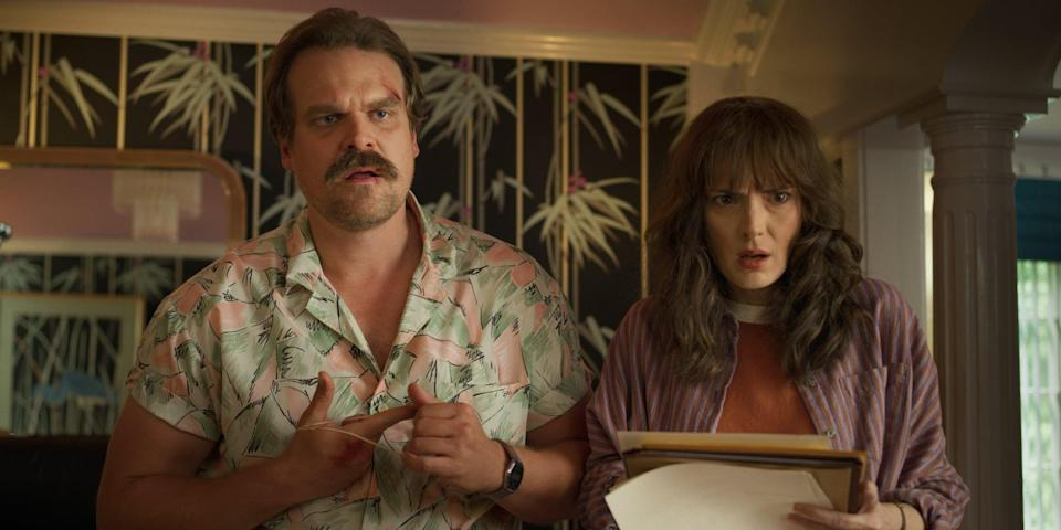"""<ul> <li><strong>What to wear:</strong> If you're all about the '80s, it's no lie that you've been <em>very</em> into Jim Hopper's killer style during season three of <strong><a class=""""link rapid-noclick-resp"""" href=""""https://www.popsugar.co.uk/Stranger-Things"""" rel=""""nofollow noopener"""" target=""""_blank"""" data-ylk=""""slk:Stranger Things"""">Stranger Things</a></strong>. Find your best Hawaiian shirt and add a nice 'stache, and you're ready to roll. </li> </ul>"""
