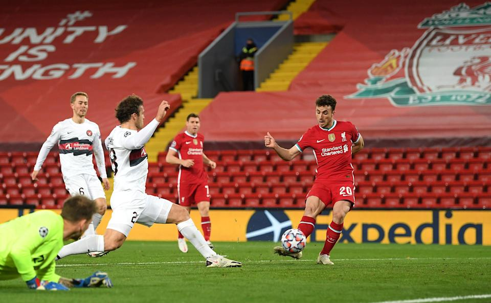 Diogo Jota stokes Liverpool in front at Anfield (Getty Images)