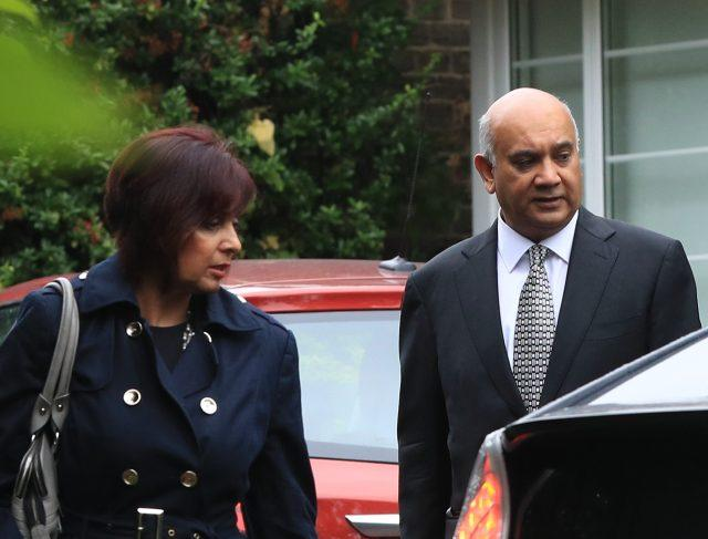 Keith Vaz outside his home in Stanmore, London, with his wife Maria in 2016 (Jonathan Brady/PA)
