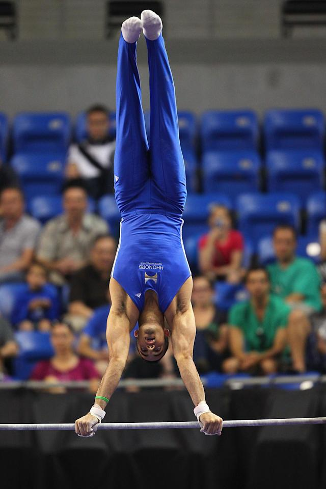 ST. LOUIS, MO - JUNE 9: Danell Leyva competes on the high bar during the Senior Men's competition on Day Three of the Visa Championships at Chaifetz Arena on June 9, 2012 in St. Louis, Missouri. (Photo by Dilip Vishwanat/Getty Images)