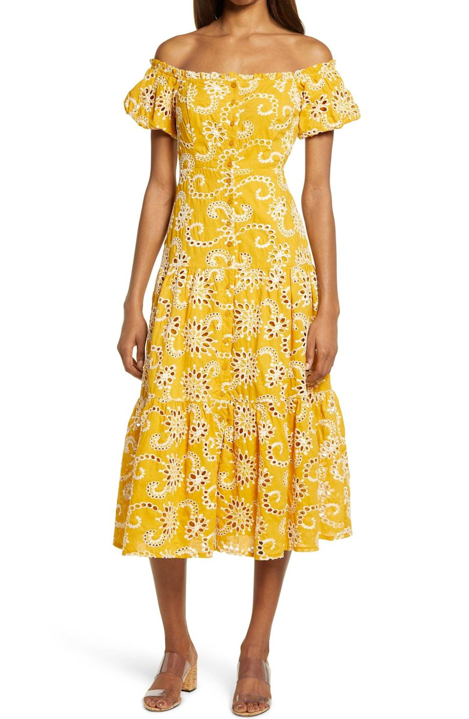 <p>This <span>Floret Studios Off the Shoulder Tiered Midi Dress</span> ($149) comes in a bright hue that is sure to cheer you up.</p>