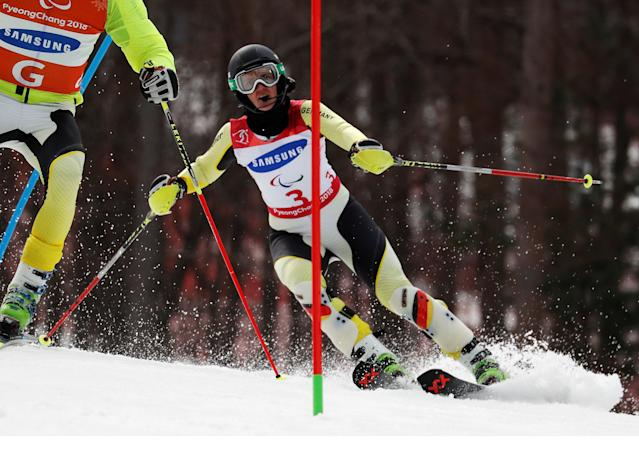 Alpine Skiing - Pyeongchang 2018 Winter Paralympics - Women's Slalom - Visually Impaired - Run 2 - Jeongseon Alpine Centre - Jeongseon, South Korea - March 18, 2018 - Noemi Ewa Ristau of Germany and her guide. REUTERS/Paul Hanna