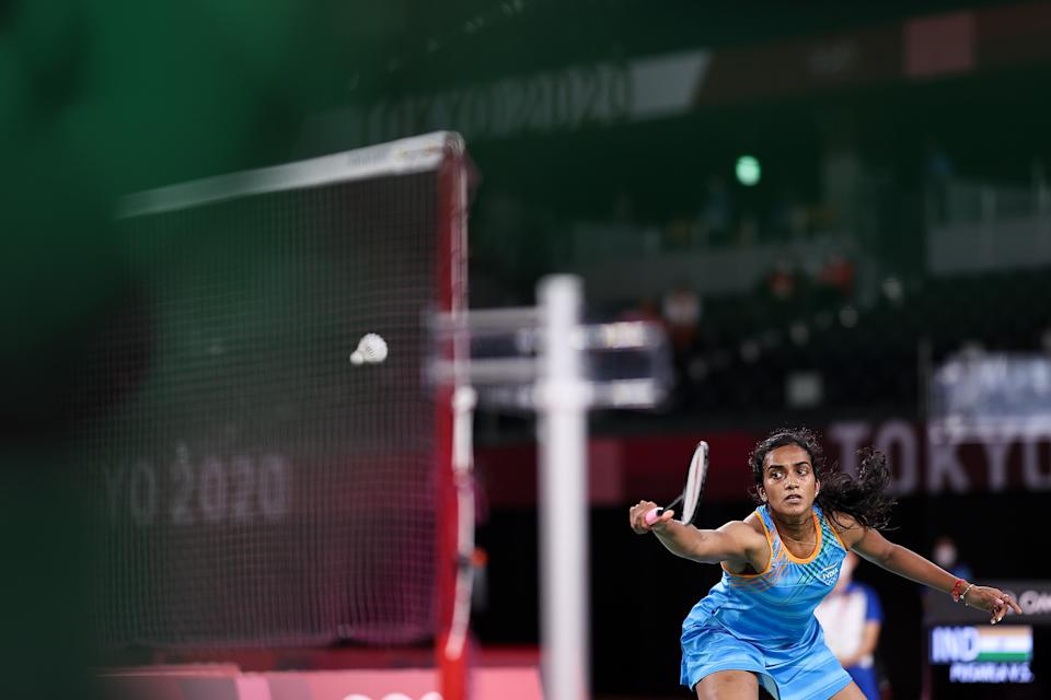 CHOFU, JAPAN - AUGUST 01: Pusarla V. Sindhu of Team India competes against He Bing Jiao of Team China during the Women's Singles Bronze Medal match on day nine of the Tokyo 2020 Olympic Games at Musashino Forest Sport Plaza on August 01, 2021 in Chofu, Tokyo, Japan. (Photo by Lintao Zhang/Getty Images)