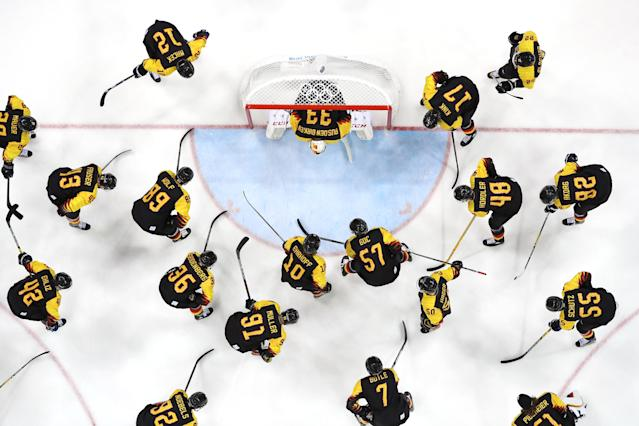 <p>Germany huddle around their net before their game against Norway during the Men's Ice Hockey Preliminary Round Group B game on day nine of the PyeongChang 2018 Winter Olympic Games at Gangneung Hockey Centre on February 18, 2018 in Gangneung, South Korea. (Photo by Jamie Squire/Getty Images) </p>