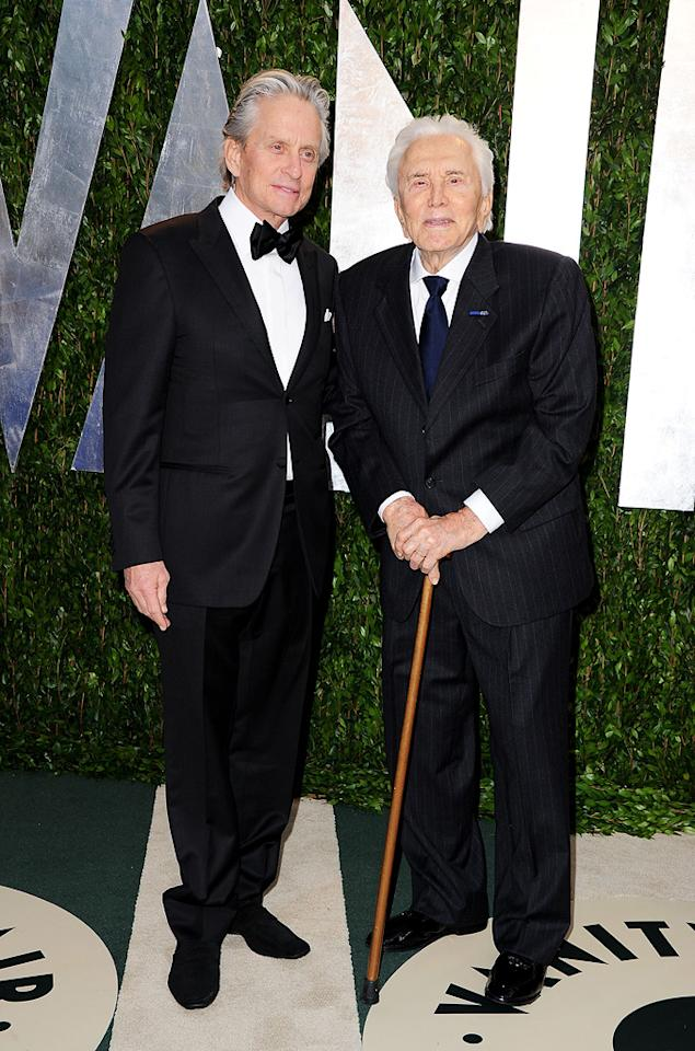 Michael Douglas and his proud papa, Kirk, arrived in style at the VF festivities.