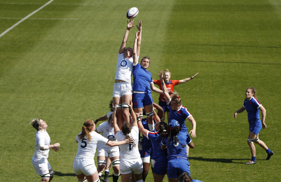 Zoe Aldcroft will face France again less than a week after helping England beat Les Bleues in the Women's Six Nations final. REUTERS/Paul Childs