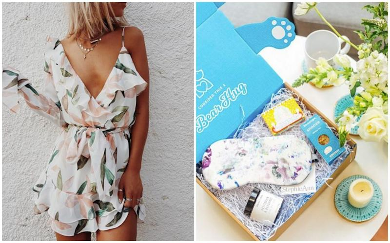 floral dress and care package box