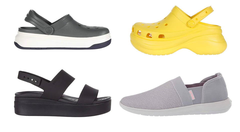 (Clockwise from top left): Crocband Full Force Clog, Classic Bae Clog, Reviva Slip-On, Brooklyn Low Wedge—all on sale right now! (Photo: Zappos)