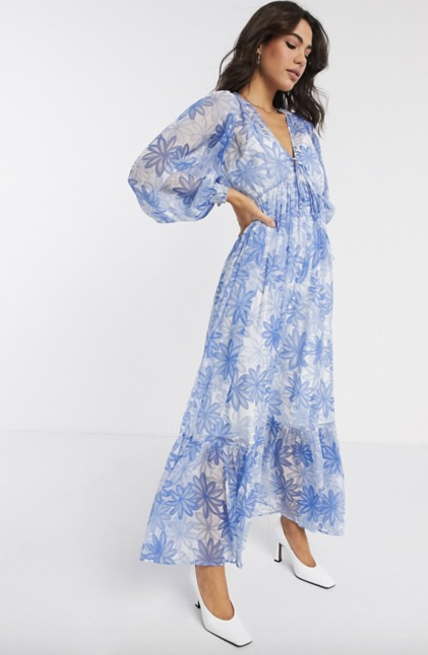 """<p><strong>ASOS Design</strong></p><p>www.asos.com</p><p><strong>$64.00</strong></p><p><a href=""""https://go.redirectingat.com?id=74968X1596630&url=https%3A%2F%2Fwww.asos.com%2Fus%2Fasos-design%2Fasos-design-soft-drawstring-waist-pleated-maxi-dress-in-floral-print%2Fprd%2F14534653%3FcolourWayId%3D16623738%26cid%3D8799&sref=https%3A%2F%2Fwww.marieclaire.com%2Ffashion%2Fg32662286%2Faffordable-sundresses%2F"""" rel=""""nofollow noopener"""" target=""""_blank"""" data-ylk=""""slk:Shop Now"""" class=""""link rapid-noclick-resp"""">Shop Now</a></p><p>This sheer chiffon dress has an effortless feel to it, great for any outdoor event this summer that requires something a little more formal. Keep the look airy with a <a href=""""https://www.shopbop.com/eel-heel-simon-miller/vp/v=1/1571185249.htm?fm=search-viewall-shopbysize&os=false&ref_=SB_PLP_NB_98"""" rel=""""nofollow noopener"""" target=""""_blank"""" data-ylk=""""slk:comfy kitten heel"""" class=""""link rapid-noclick-resp"""">comfy kitten heel</a> and a neutral clutch. </p>"""