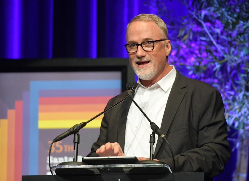 SANTA BARBARA, CALIFORNIA - JANUARY 22: David Fincher speaks onstage at the Maltin Modern Master Award Honoring Brad Pitt during the 35th Santa Barbara International Film Festival at the Arlington Theatre on January 22, 2020 in Santa Barbara, California. (Photo by Matt Winkelmeyer/Getty Images for SBIFF)