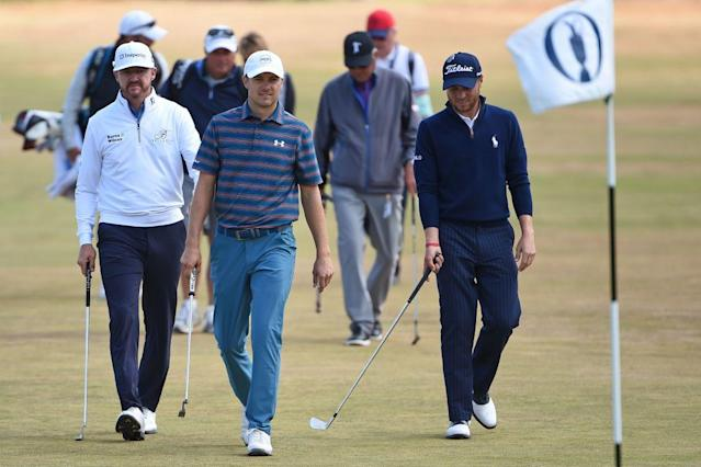 Jimmy Walker, Jordan Spieth, and Justin Thomas are three of the frat house crew at Carnoustie. (Getty)