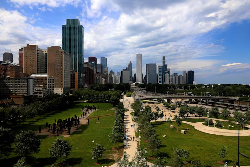 CHICAGO - JUNE 25: Grant Park and partial view of the Chicago Skyline in Chicago, Illinois on June 25, 2019. (Photo By Raymond Boyd/Getty Images)