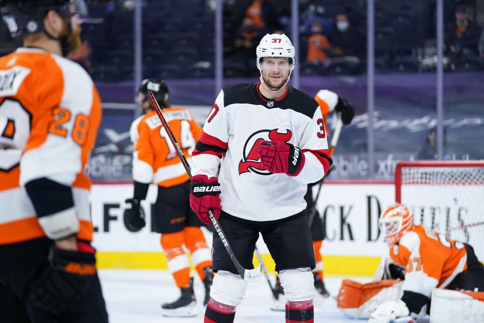 New Jersey Devils' Pavel Zacha reacts after scoring a goal during the first period of an NHL hockey game against the Philadelphia Flyers, Monday, May 10, 2021, in Philadelphia. (AP Photo/Matt Slocum)