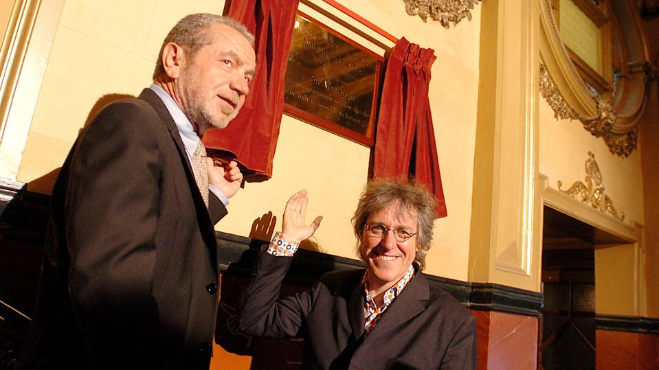 Sir Alan Sugar and Griff Rhys Jones during Opening of New Marie Lloyd Extension at Hackney Empire in London (Photo by J. Quinton/WireImage)