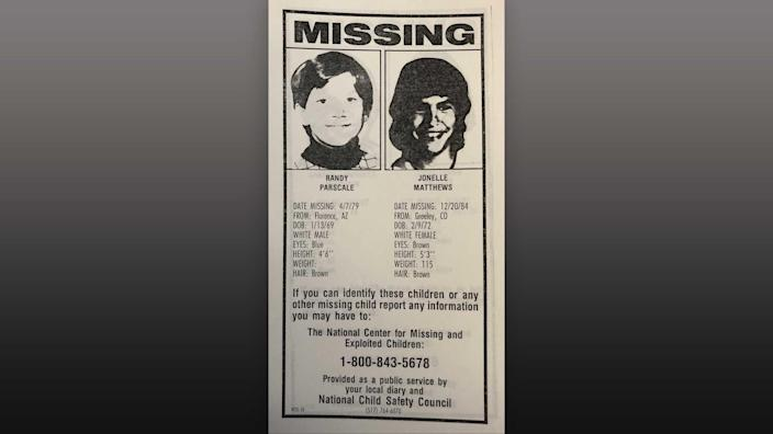 Jonelle Matthews, right, was one of the first missing children featured on milk cartons across the country. This is a photo of the layout that was sent to various paper companies for the production of the milk cartons.  / Credit: National Child Safety Council
