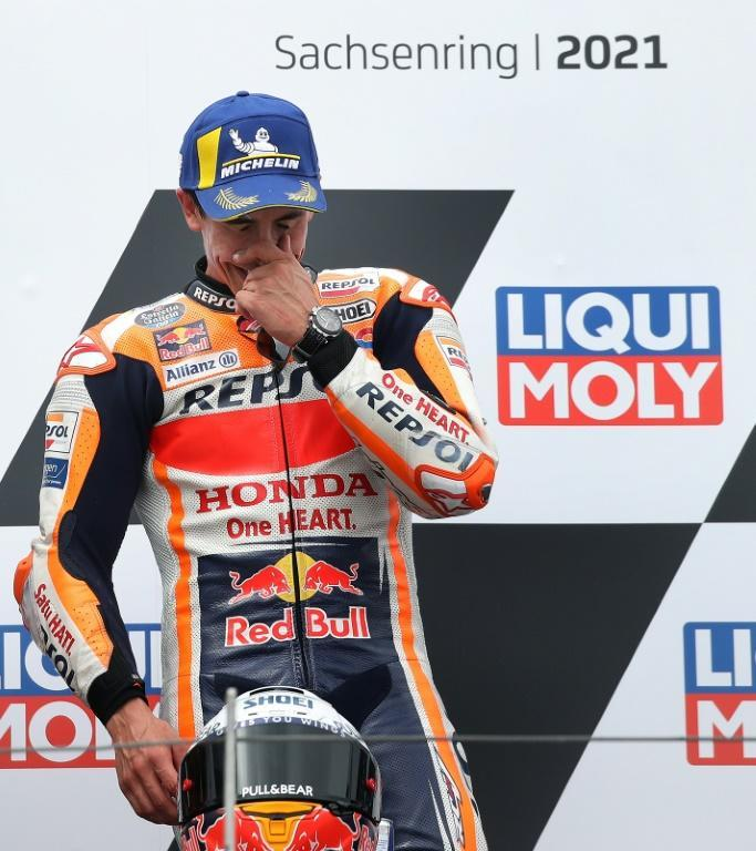 Mixed emotions: Marc Marquez was delighted to win but said he was still far from his best