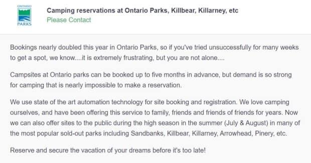 An ad on Kijiji for the Camping Bot said it could sell people sites at fully booked Ontario Parks this summer. The ad has since been removed. This is a cached version of the web ad.