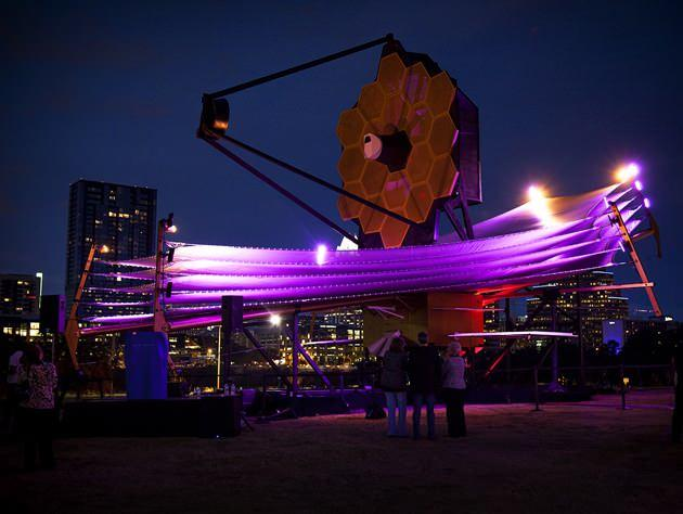 A model of the James Webb Space Telescope is on display in Austin at SXSW. (Alex Evars/NASA)