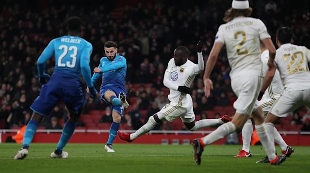 Soccer Football - Europa League Round of 32 Second Leg - Arsenal vs Ostersunds FK - Emirates Stadium, London, Britain - February 22, 2018 Arsenal's Sead Kolasinac scores their first goal Action Images via Reuters/Peter Cziborra