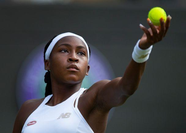 PHOTO: Cori Gauff of USA in action during her first round victory over Venus Williams of USA on Day One of The Championships - Wimbledon 2019 at All England Lawn Tennis and Croquet Club on July 1, 2019 in London, England. (Visionhaus/Getty Images)