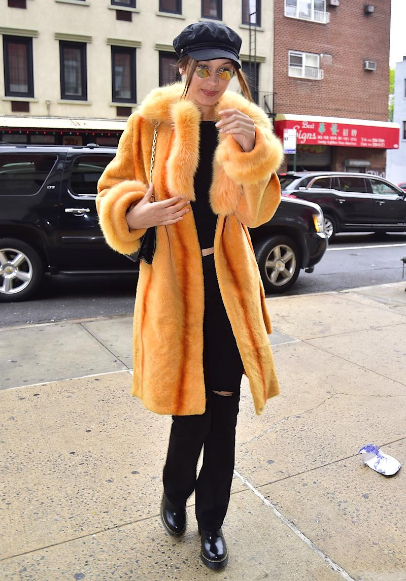 Bella Hadid is seen in the East Village on April 25, 2017 in New York City.