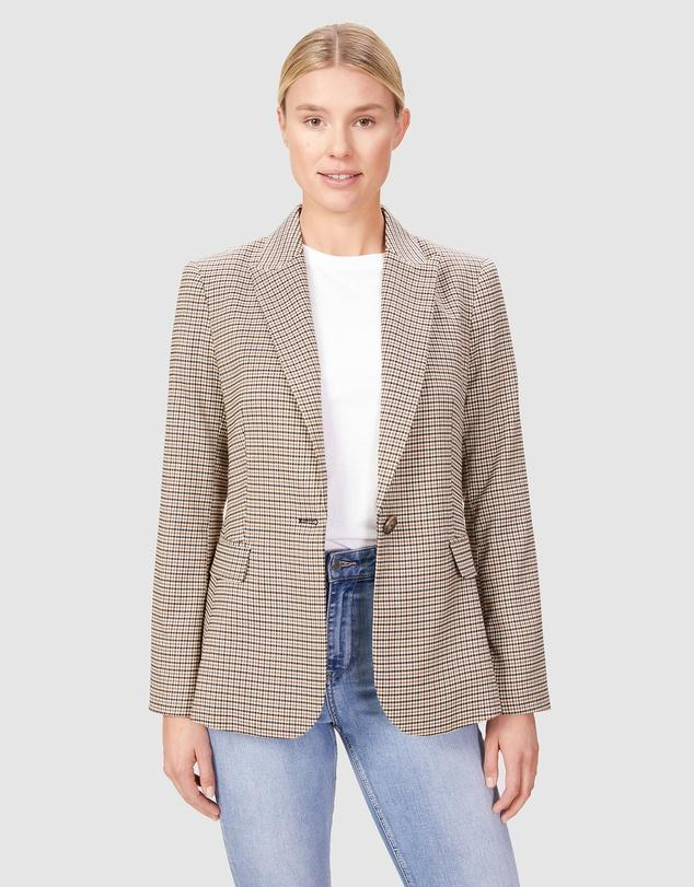 French Connection Double Breasted Checked Blazer, $169.95.