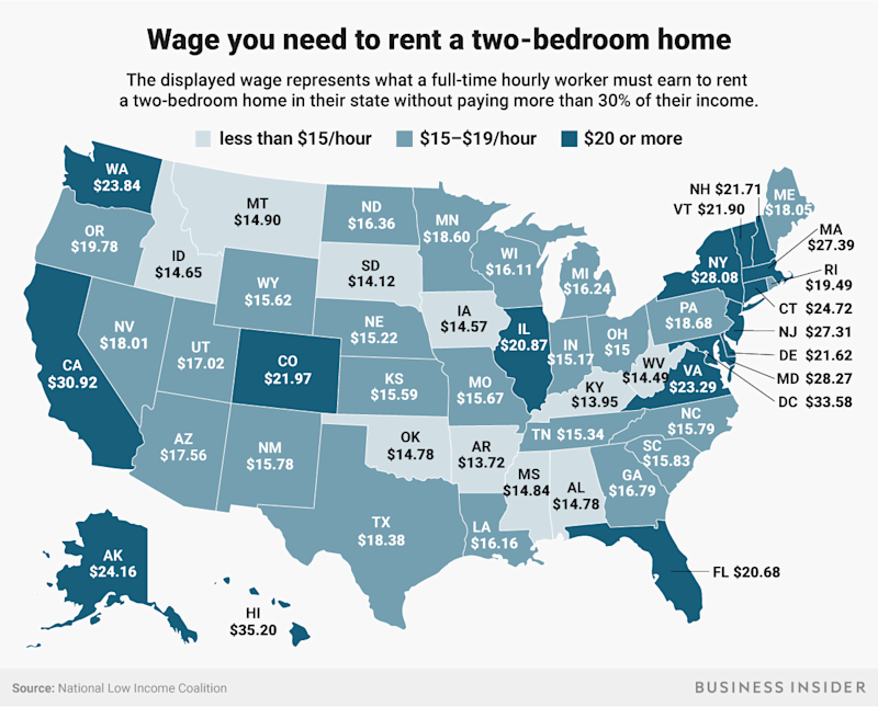 wage you need to rent two bedroom home map