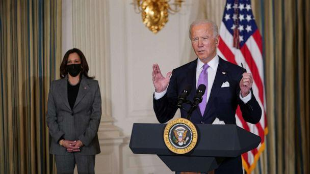 PHOTO: President Joe Biden arrives to speak on racial equity with Vice President Kamala Harris before signing executive orders in the State Dining Room of the White House in Washington, DC, Jan. 26, 2021. (Mandel Ngan/AFP via Getty Images)