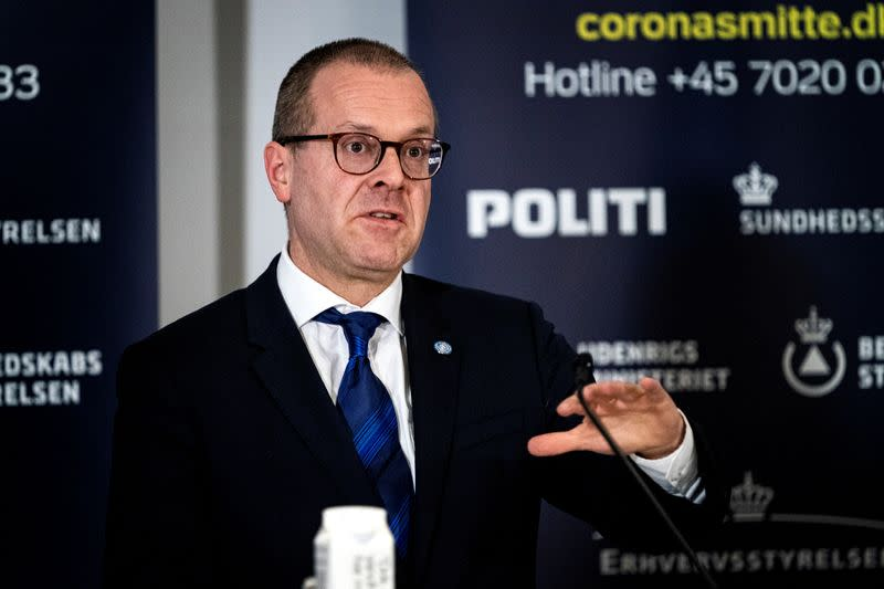 WHO European director Hans Kluge gives status on the Danish handling of coronavirus during a press breefing in Eigtveds Pakhus, Copenhagen