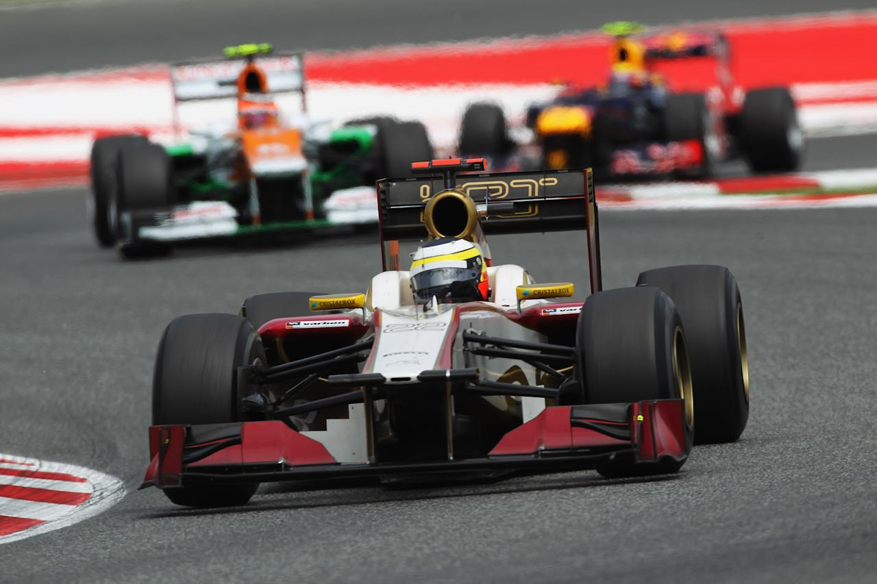 BARCELONA, SPAIN - MAY 13:  Pedro de la Rosa of Spain and Hispania Racing Team drives during the Spanish Formula One Grand Prix at the Circuit de Catalunya on May 13, 2012 in Barcelona, Spain.  (Photo by Mark Thompson/Getty Images)