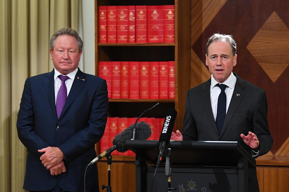 Andrew Forrest and Greg Hunt make the announcement on Wednesday. Source: AAP
