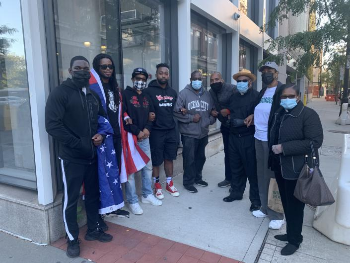 Michael Anderson and supporters rally in Newark, NJ as part of a boycott against Whole Foods and Prudential Financial. (Photo courtesy of Brick City Strength and #BlackDadsMatter)