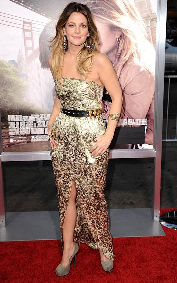 "Drew Barrymore -- who was featured in last week's ""What Were They Thinking?!"" gallery thanks to her terrible makeup job -- rebounded well at the Los Angeles premiere of her upcoming rom-com, ""Going The Distance,"" in a gorgeous Catherine Malandrino gown, studded Balmain belt, and Yves St. Laurent ""Trib Two"" platform pumps. Steve Granitz/<a href=""http://www.wireimage.com"" target=""new"">WireImage.com</a> - August 23, 2010"