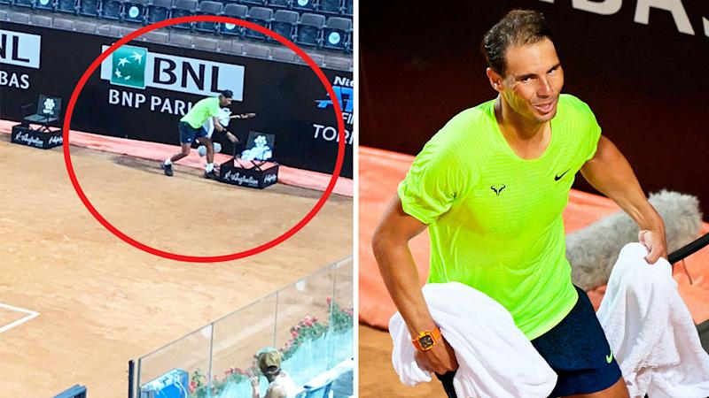 Rafael Nadal (pictured left) picking up all his towels and (pictured right) carrying the towels and smiling.