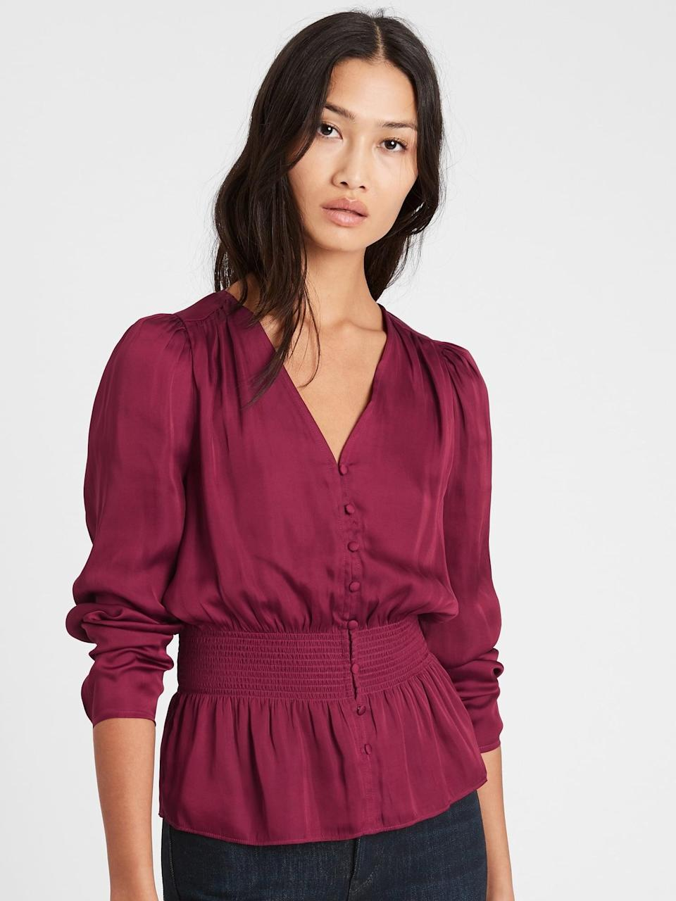 <p>This <span>Banana Republic Satin Puff-Sleeve Blouse</span> ($29, originally $85) is another romantic option for Valentine's day.</p>