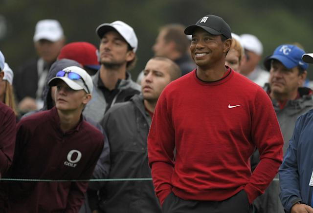 "<h1 class=""title"">BMW Championship - Final Round</h1> <div class=""caption""> NEWTOWN SQUARE, PA - SEPTEMBER 10: Tiger Woods watches play on the first hole during the weather-delayed final round of the BMW Championship at Aronimink Golf Club on September 10, 2018 in Newtown Square, Pennsylvania. (Photo by Stan Badz/PGA TOUR) </div> <cite class=""credit"">Stan Badz</cite>"