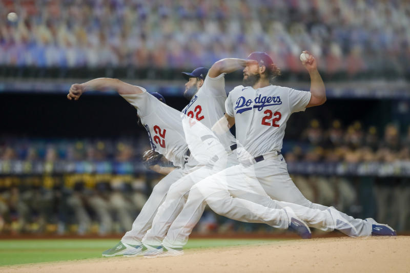 ARLINGTON, TX - OCTOBER 07: Clayton Kershaw of the Los Angeles Dodgers pitches in the second inning during Game 2 of the NLDS between the Los Angeles Dodgers and the San Diego Padres at Globe Life Field on Wednesday, October 7, 2020 in Arlington, Texas. (Photo by Kelly Gavin/MLB Photos via Getty Images)