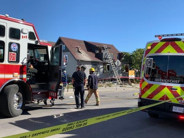 Fire crews on scene at an explosion in the northeast community of Bridgeland on Tuesday morning.  (Mike Symington/CBC - image credit)
