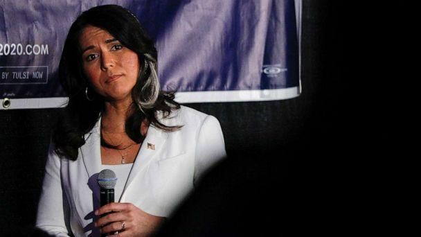 PHOTO: Democratic presidential candidate Rep. Tulsi Gabbard listens to a question at a Town Hall meeting on Super Tuesday, March 3, 2020, in Detroit. (Bill Pugliano/Getty Images)