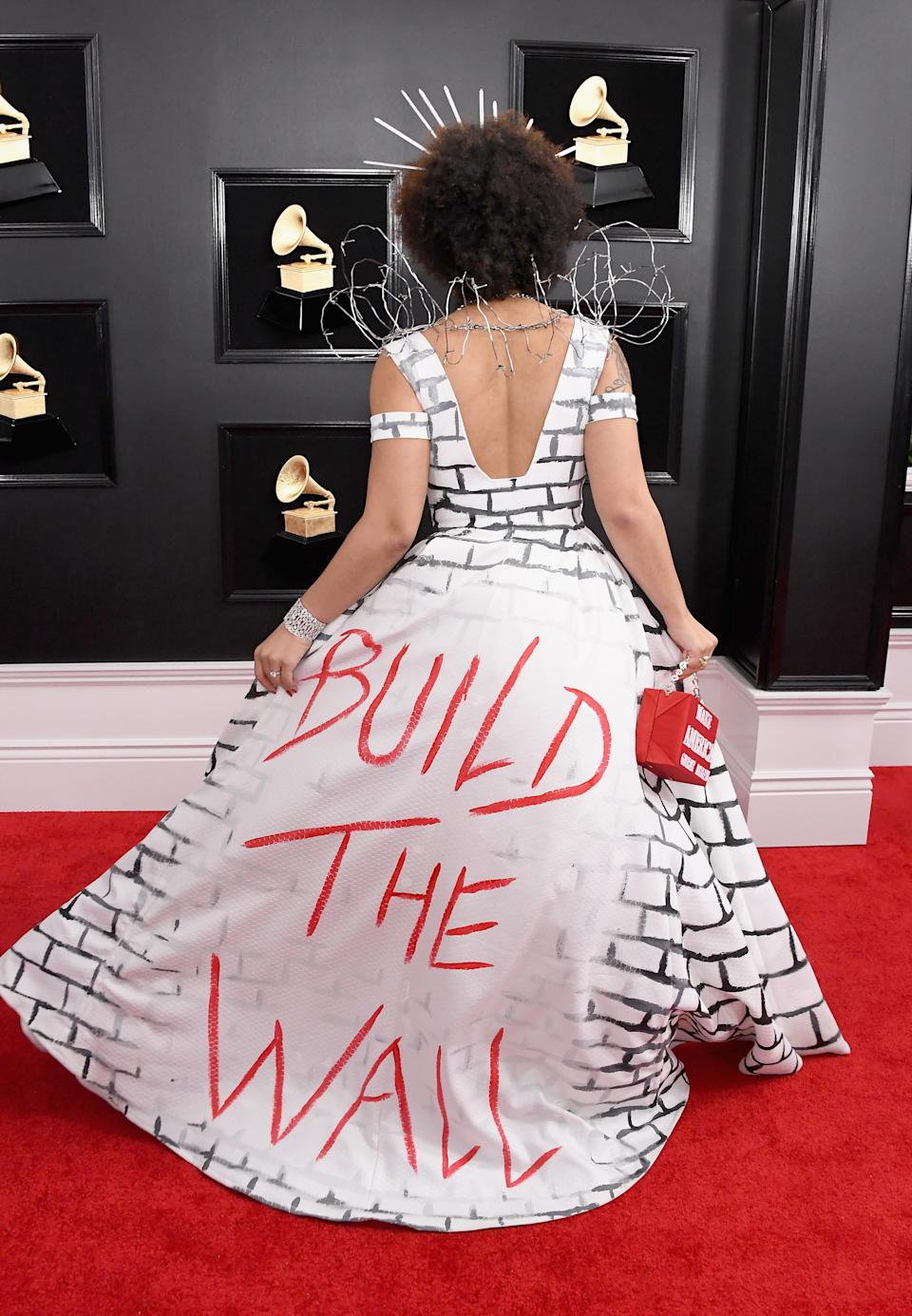 Joy Villa's dress from the back (Photo by Steve Granitz/WireImage)