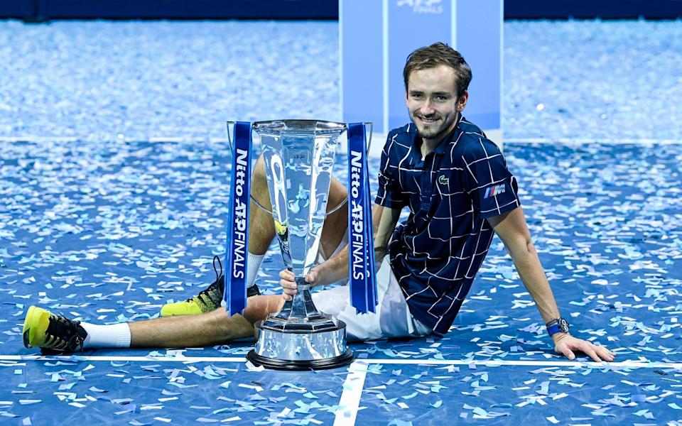 Daniil Medvedev celebrates his victory at the O2 - Getty Images