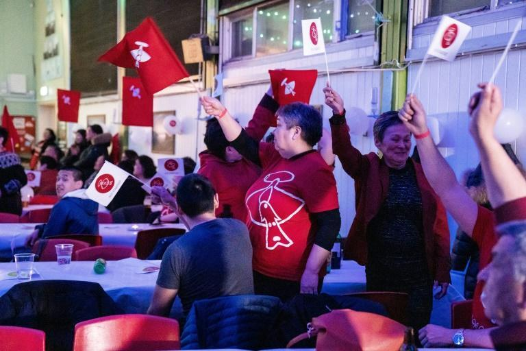 Jubilant: Inuit Ataqatigiit party supporters celebrate election victory